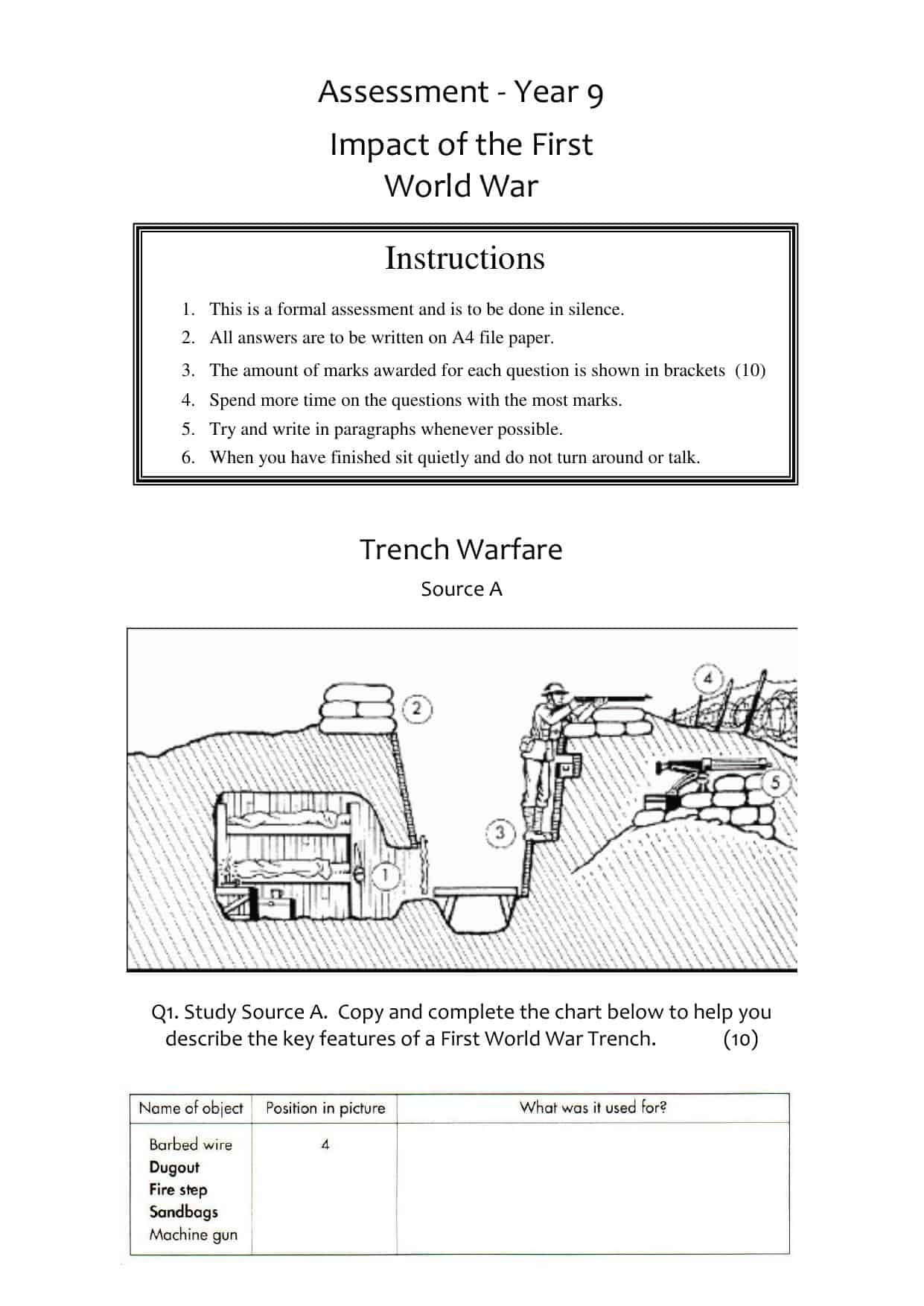 WWI Source Assessment Worksheet | Year 9 (KS3) Lesson Resource