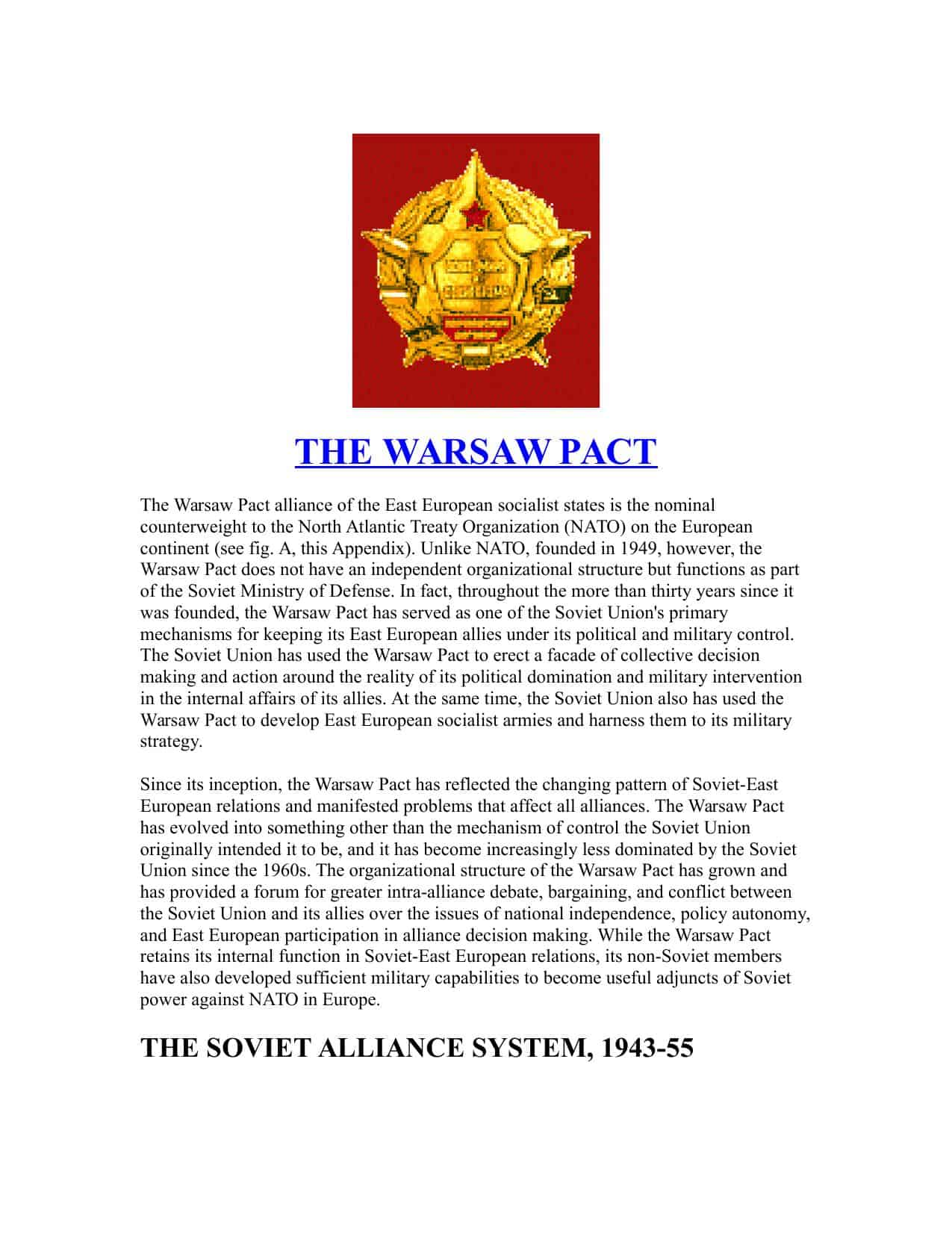 The Warsaw Pact Facts & Information | GCSE Worksheet Resource