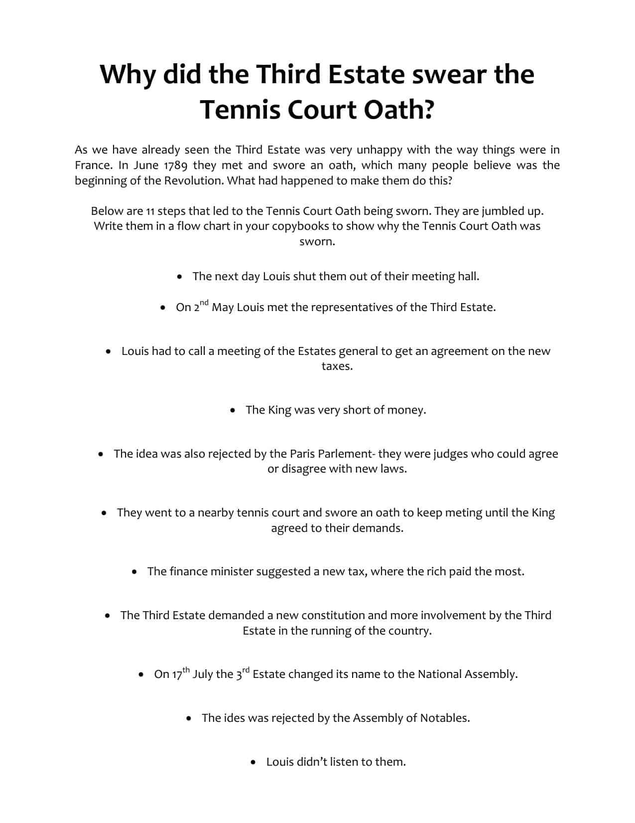 Third Estate Tennis Court Oath Ks3 Worksheet Flow Chart Task