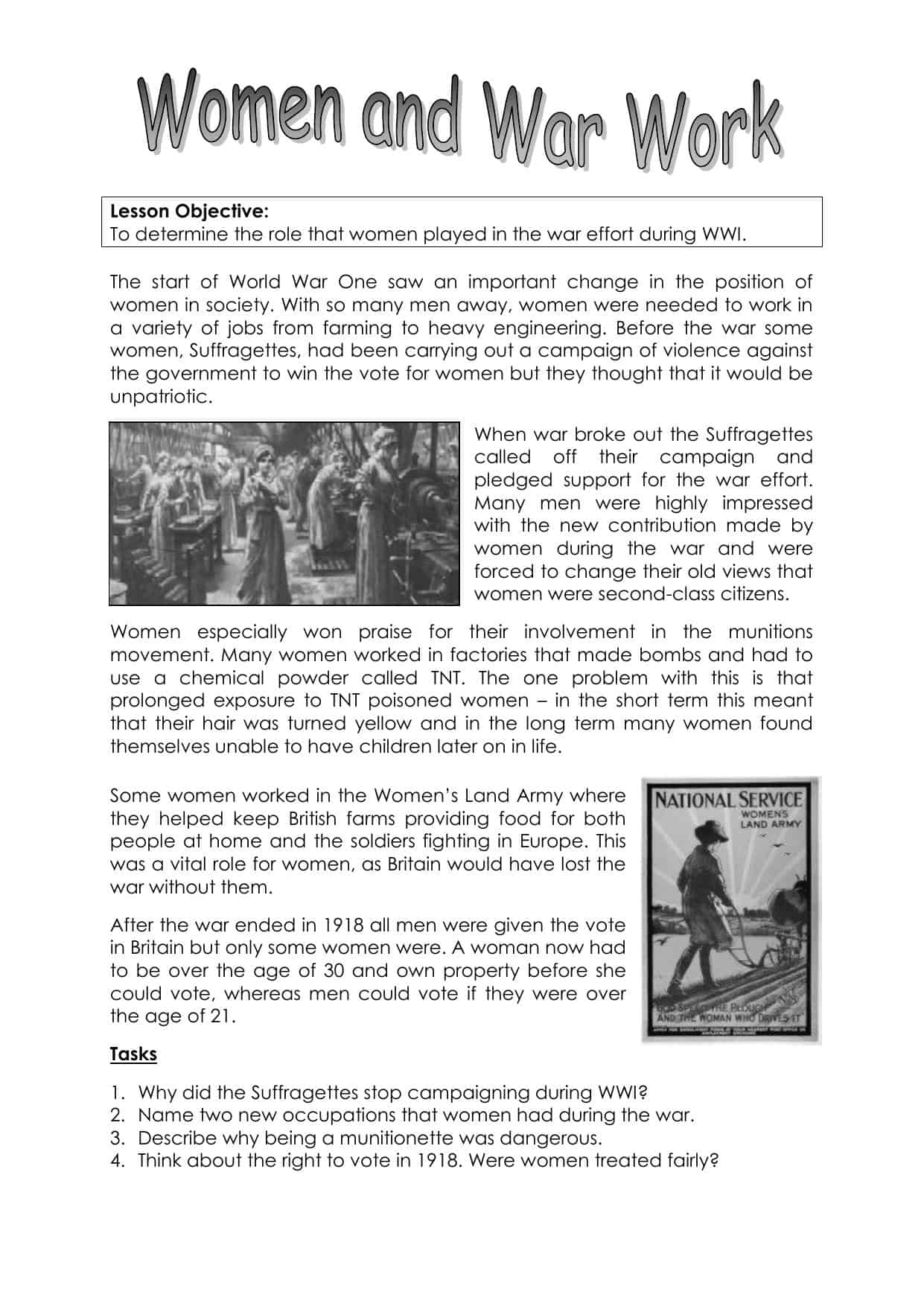 Women and the First World War Worksheet | KS3 Lesson Resource