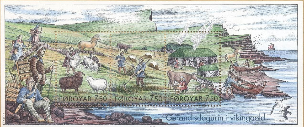 Faroe_stamps_515-517_everyday_life_in_the_viking_age