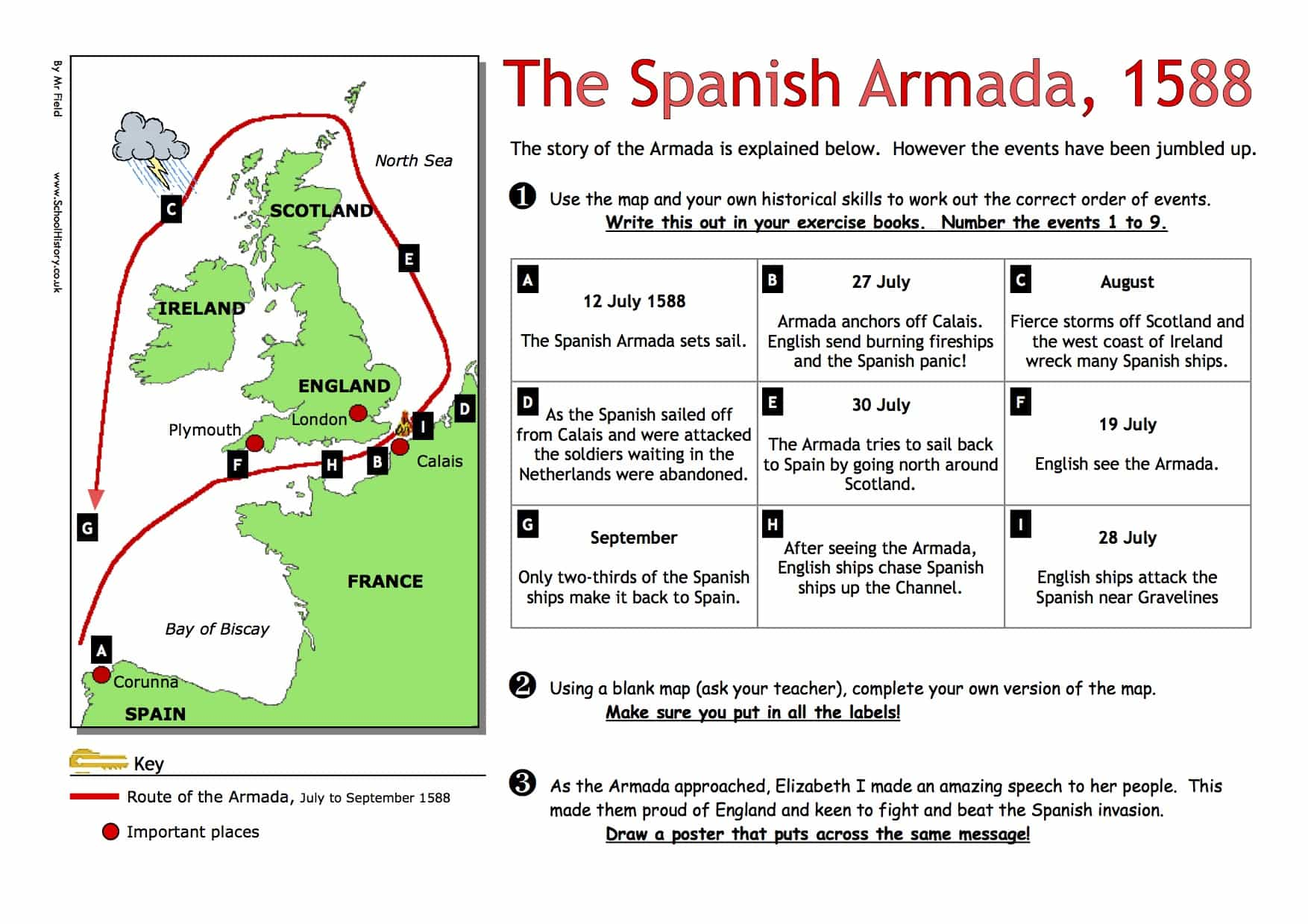 the spanish armada 1588 worksheet free pdf year8 9. Black Bedroom Furniture Sets. Home Design Ideas