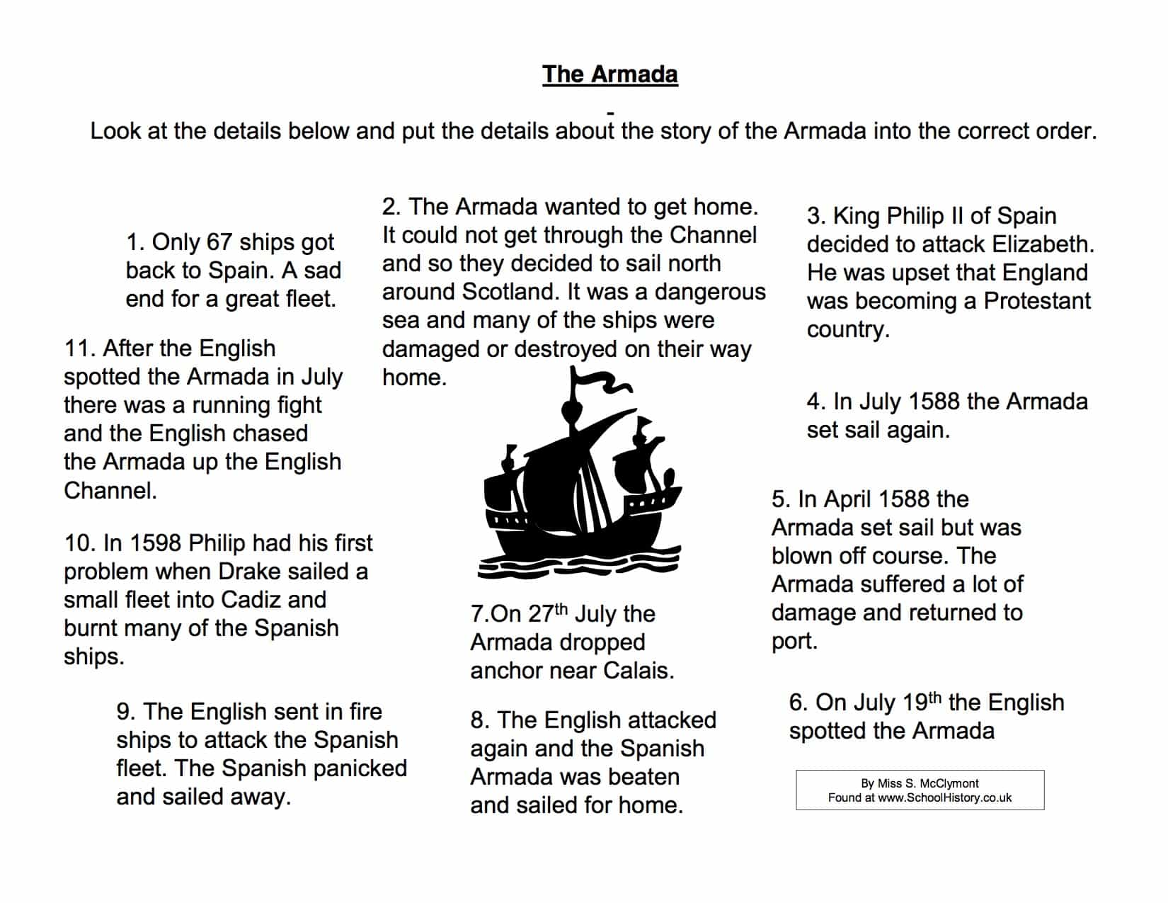 spanish armada fact sort activity worksheet year 8 9. Black Bedroom Furniture Sets. Home Design Ideas