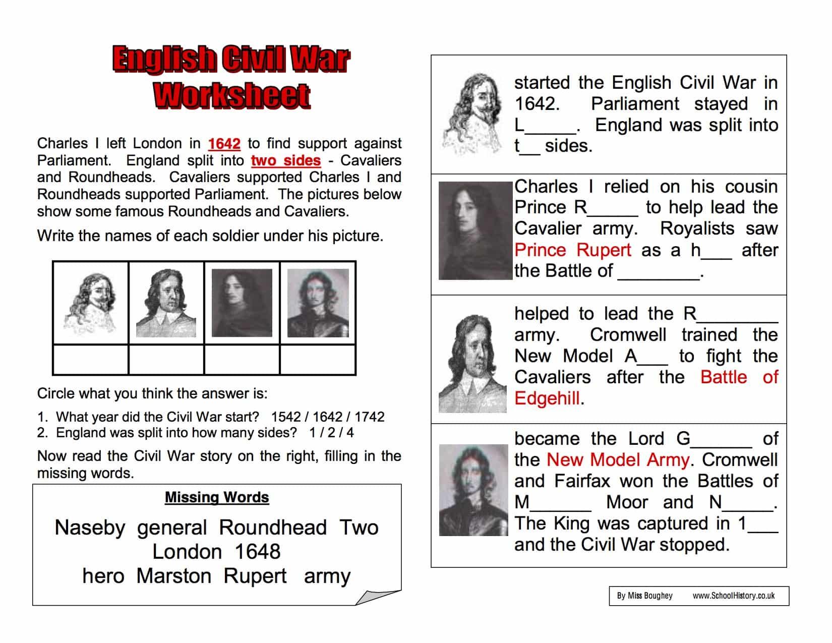 English Civil War Background Worksheet | Year 8 Study