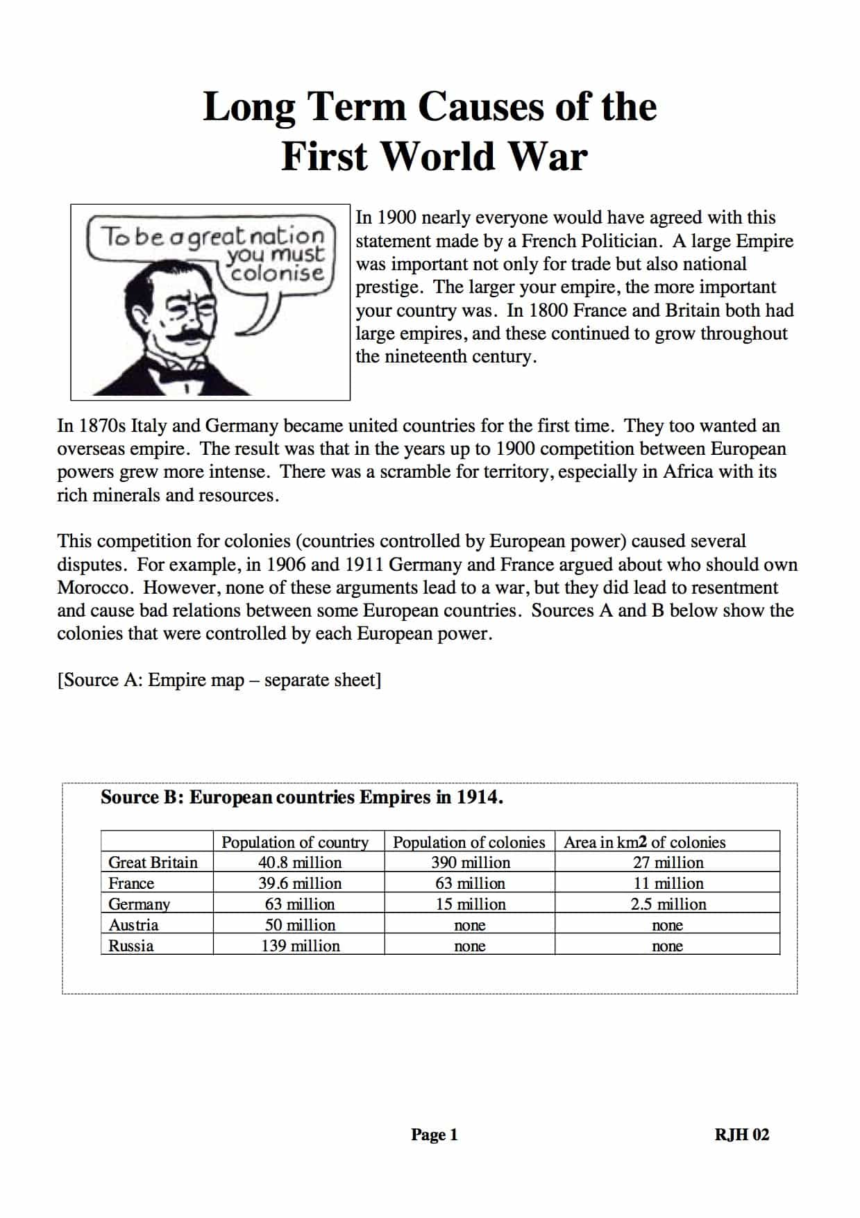 Long Term Causes Of Wwi Facts Information Gcse Worksheet