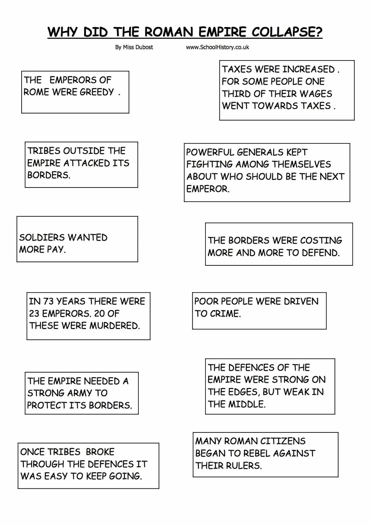 The Collapse of the Roman Empire Worksheet | Year 7