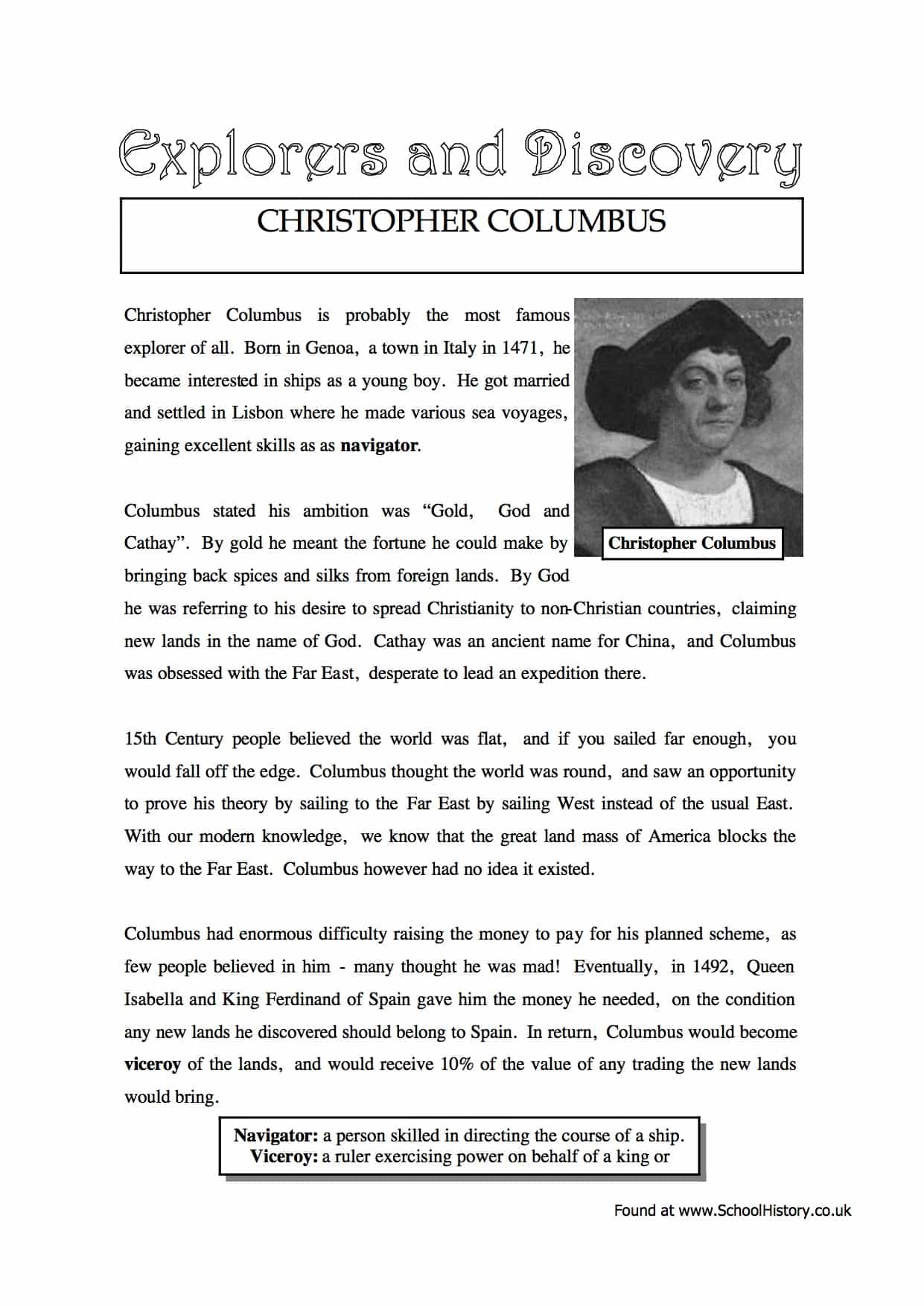 Christopher Columbus Facts & Information Worksheet - Year 8/9