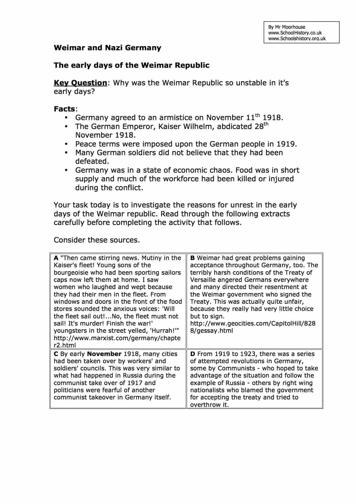 Early Days of the Weimar Republic Worksheet | GCSE Level