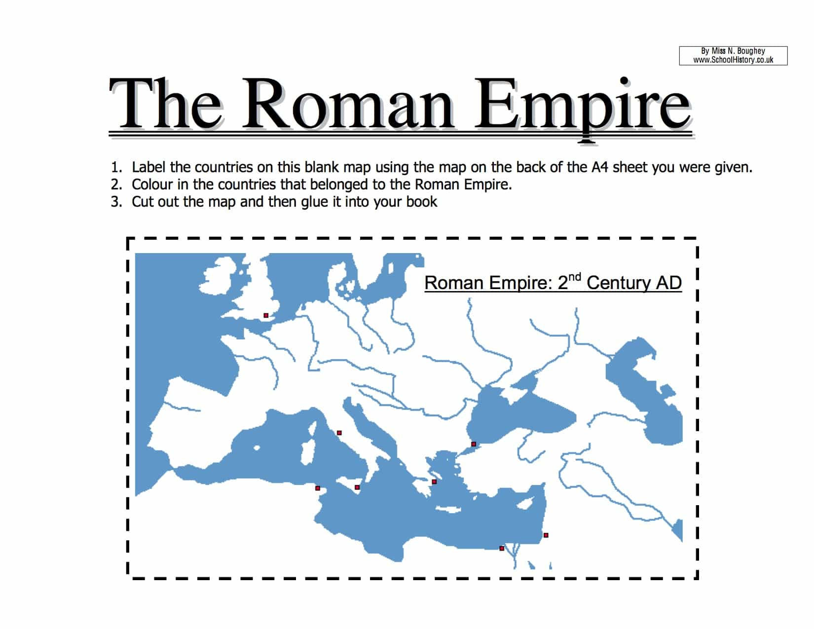 Map Of The Roman Empire Worksheet Year 7 Pdf