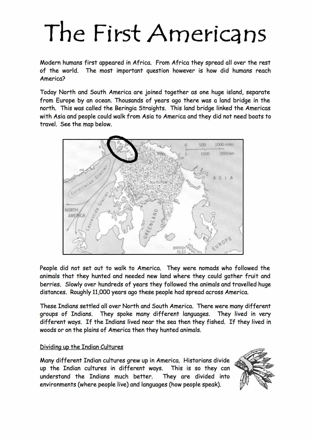 The First Americans Facts & Information Worksheet - Year 8/9