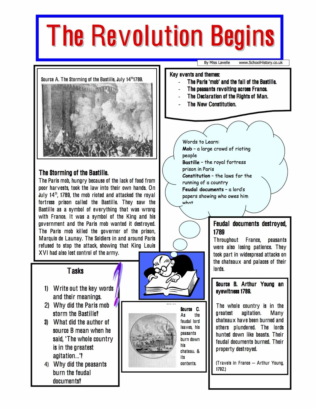 Beginning Of The French Revolution Worksheet Year 8 9 Pdf