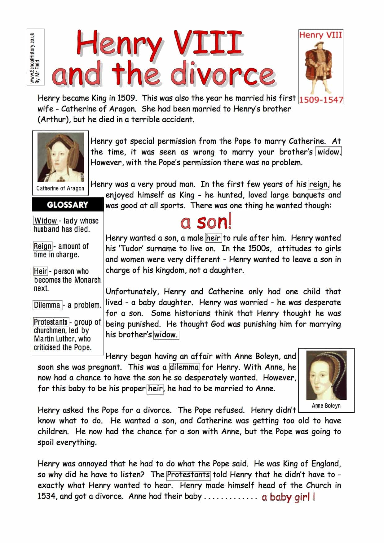 Modern Classroom Pdf ~ Henry viii and the divorce worksheet free pdf download