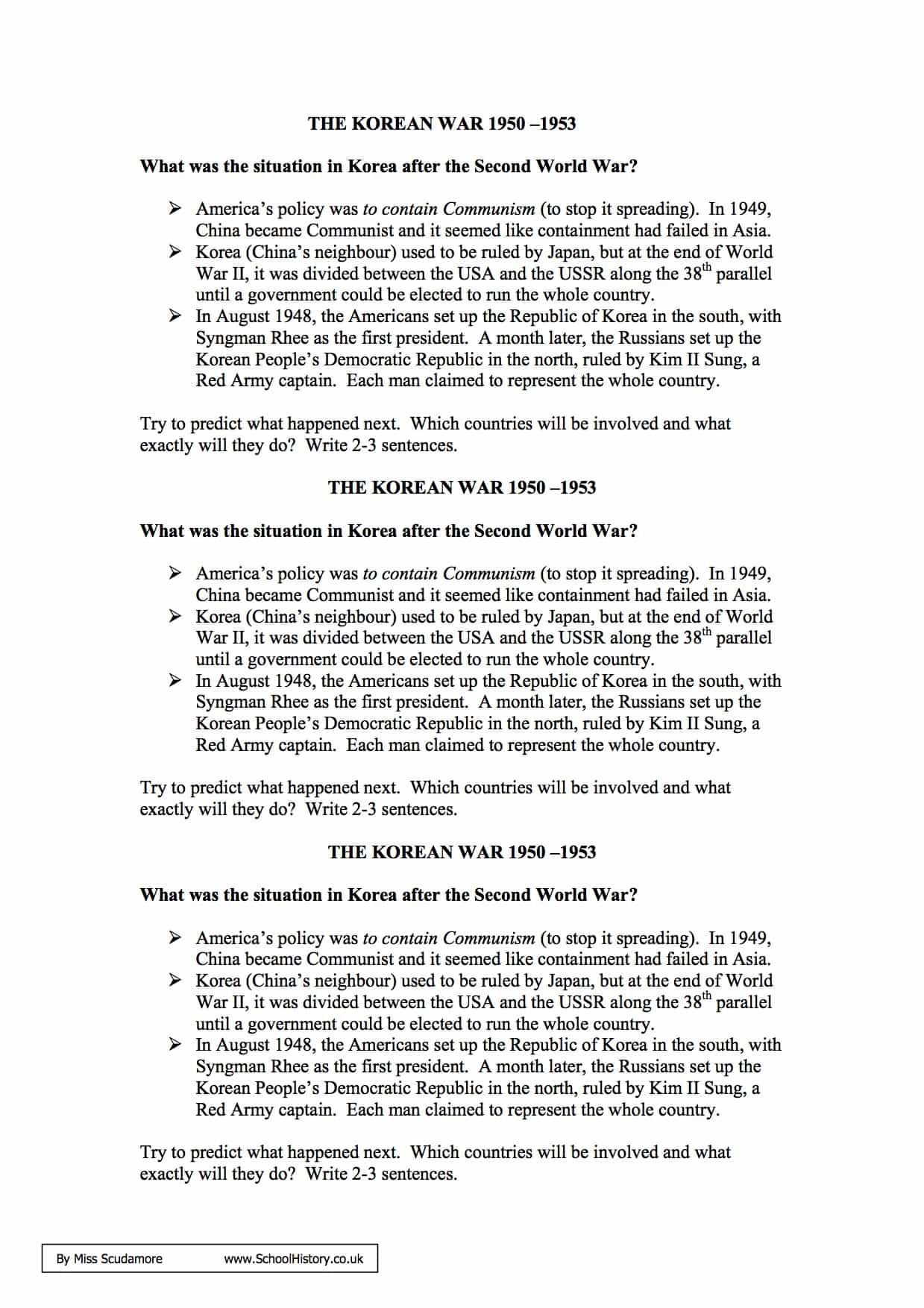 the korean war 1950 1953 facts information worksheet gcse. Black Bedroom Furniture Sets. Home Design Ideas