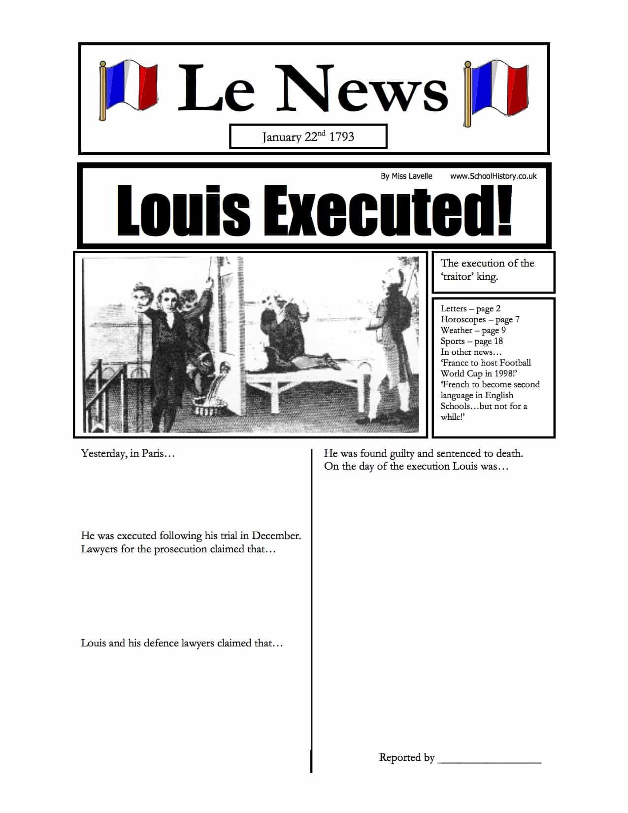 king louis executed newspaper worksheet history resources. Black Bedroom Furniture Sets. Home Design Ideas
