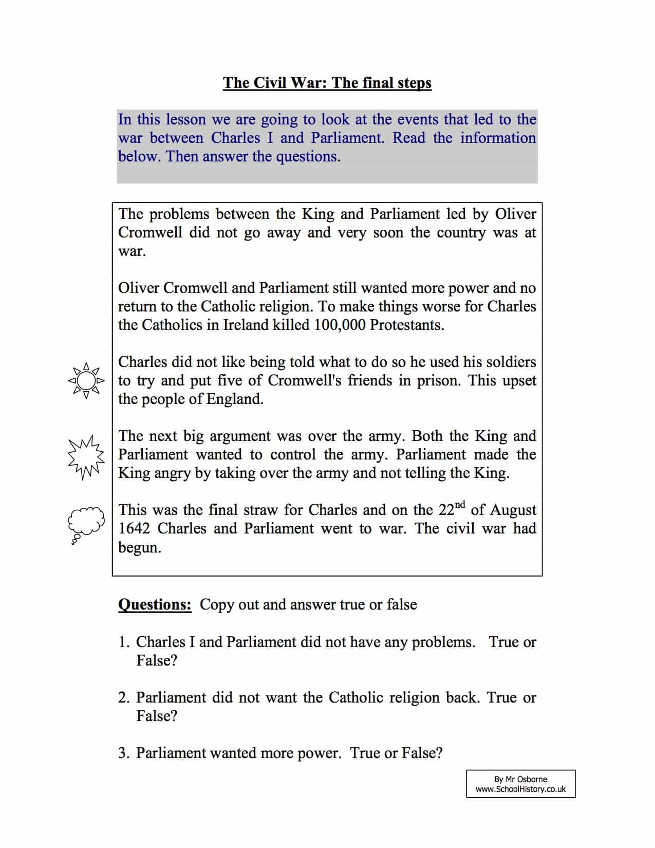 short term causes of the english civil war year 8 study worksheet. Black Bedroom Furniture Sets. Home Design Ideas