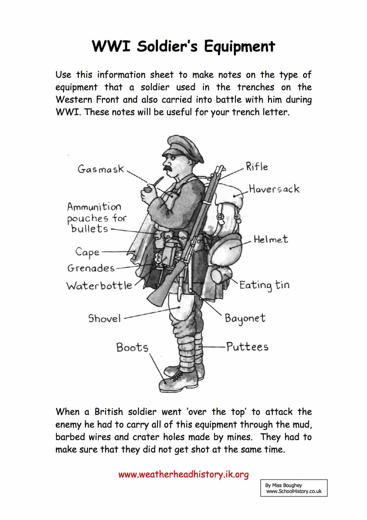 a ww1 soldier u2019s equipment facts  u0026 information worksheet