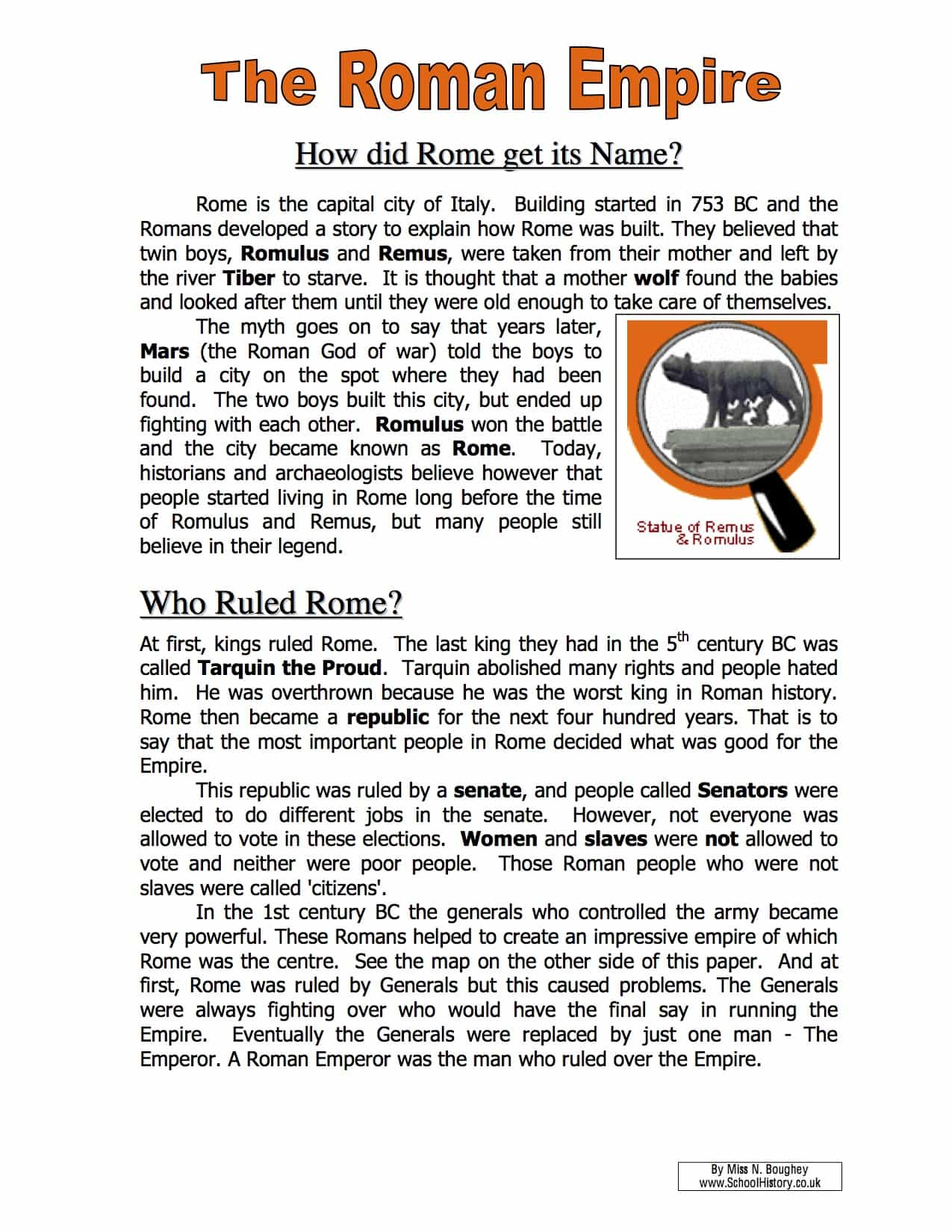 The Roman Empire Name Facts & Information Worksheet