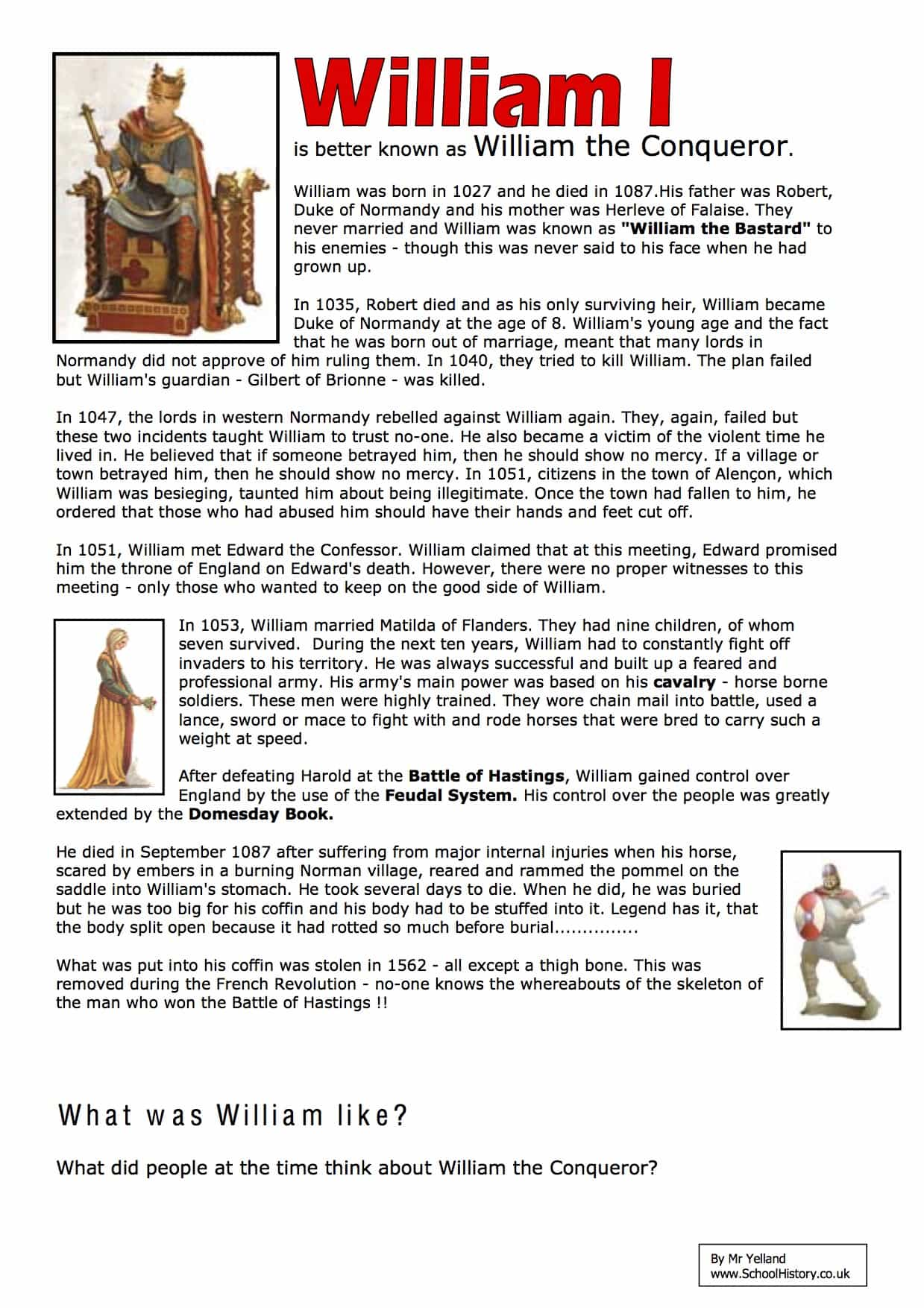 Modern Classroom Posters ~ William i the conquerer facts worksheet year