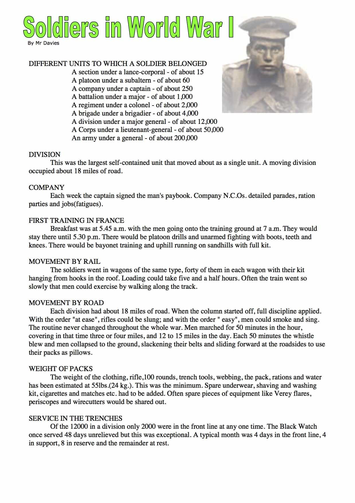 The Soldiers In World War 1 Facts Information Free Worksheet Trenches Ww1 Diagram I Found Out That Were Download