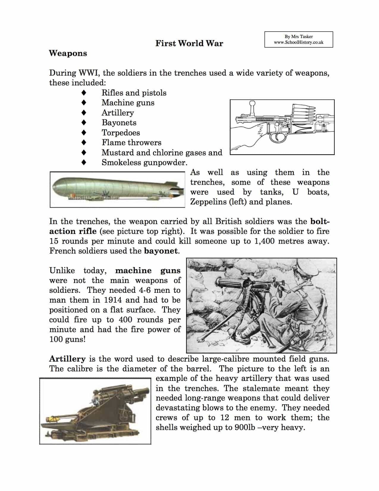 graphic about Free Printable World War 1 Worksheets named Weapons Utilised inside Earth War I Information Content material Worksheet