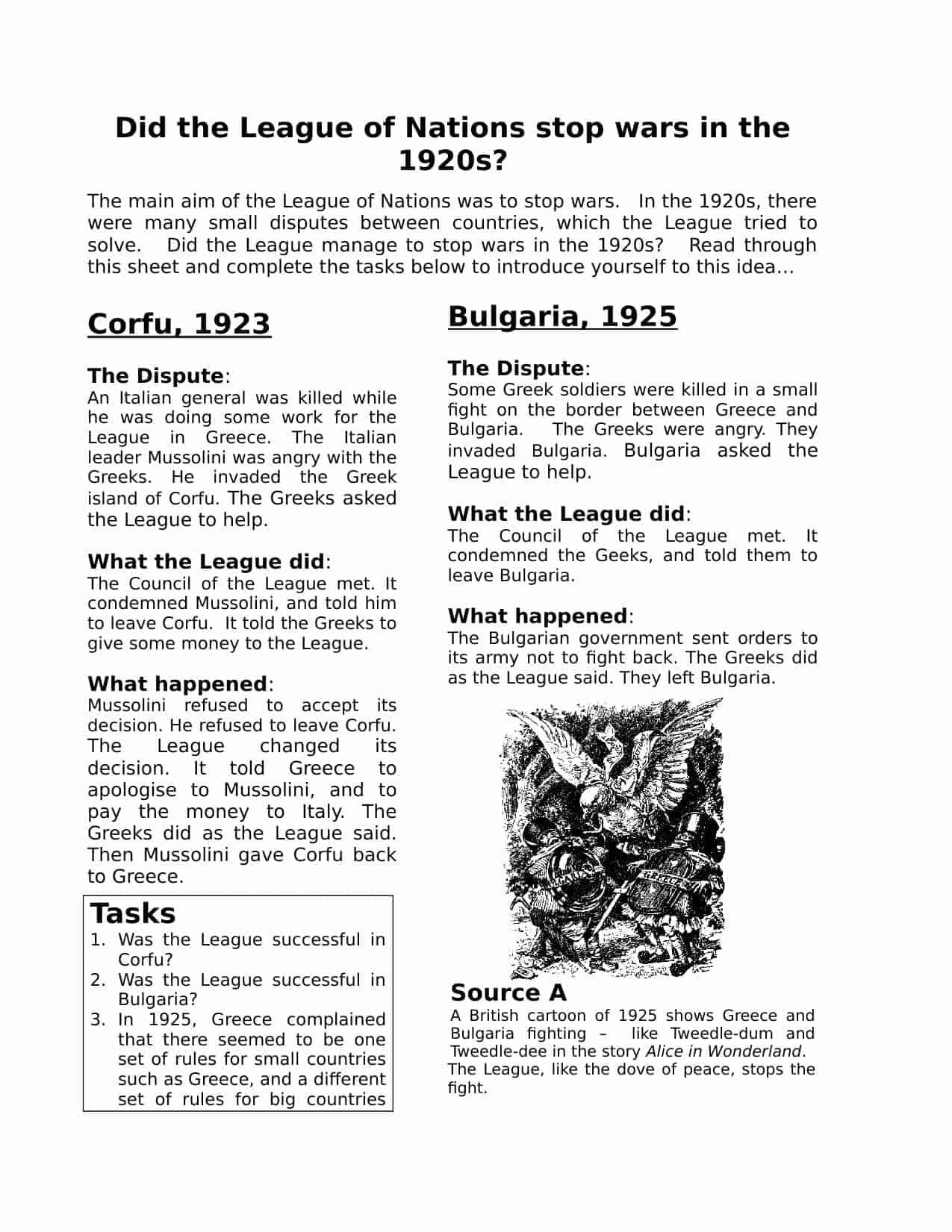 League Of Nations Homework Worksheet Teacher Resource