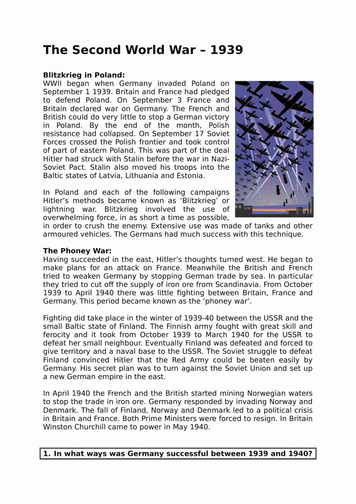 The Second Word War Facts Summary Worksheet Ks3 Lesson