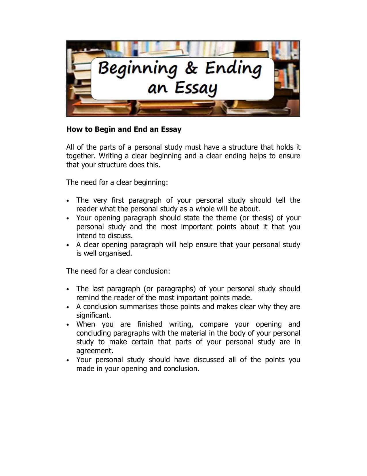 Beginning and ending an essay