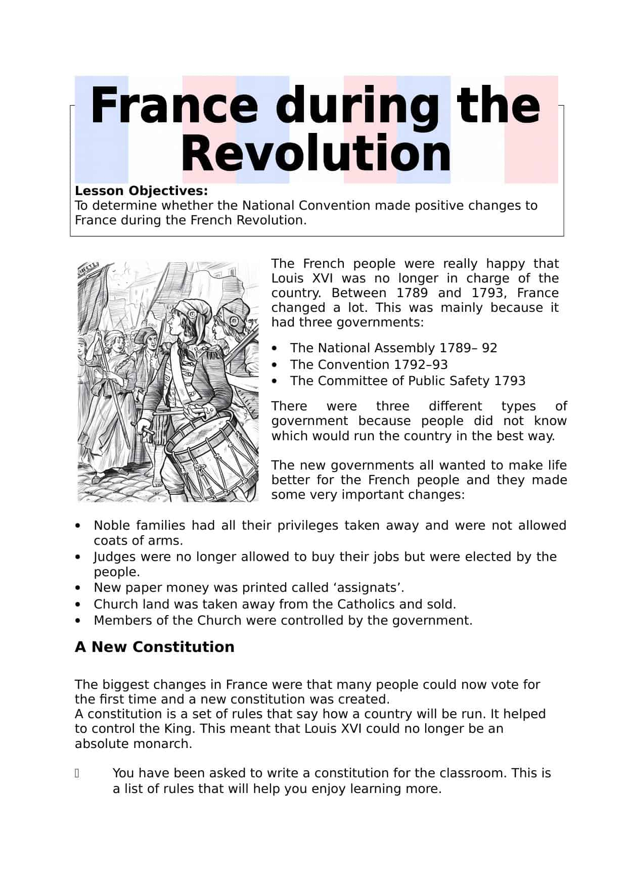 France During The Revolution Worksheet