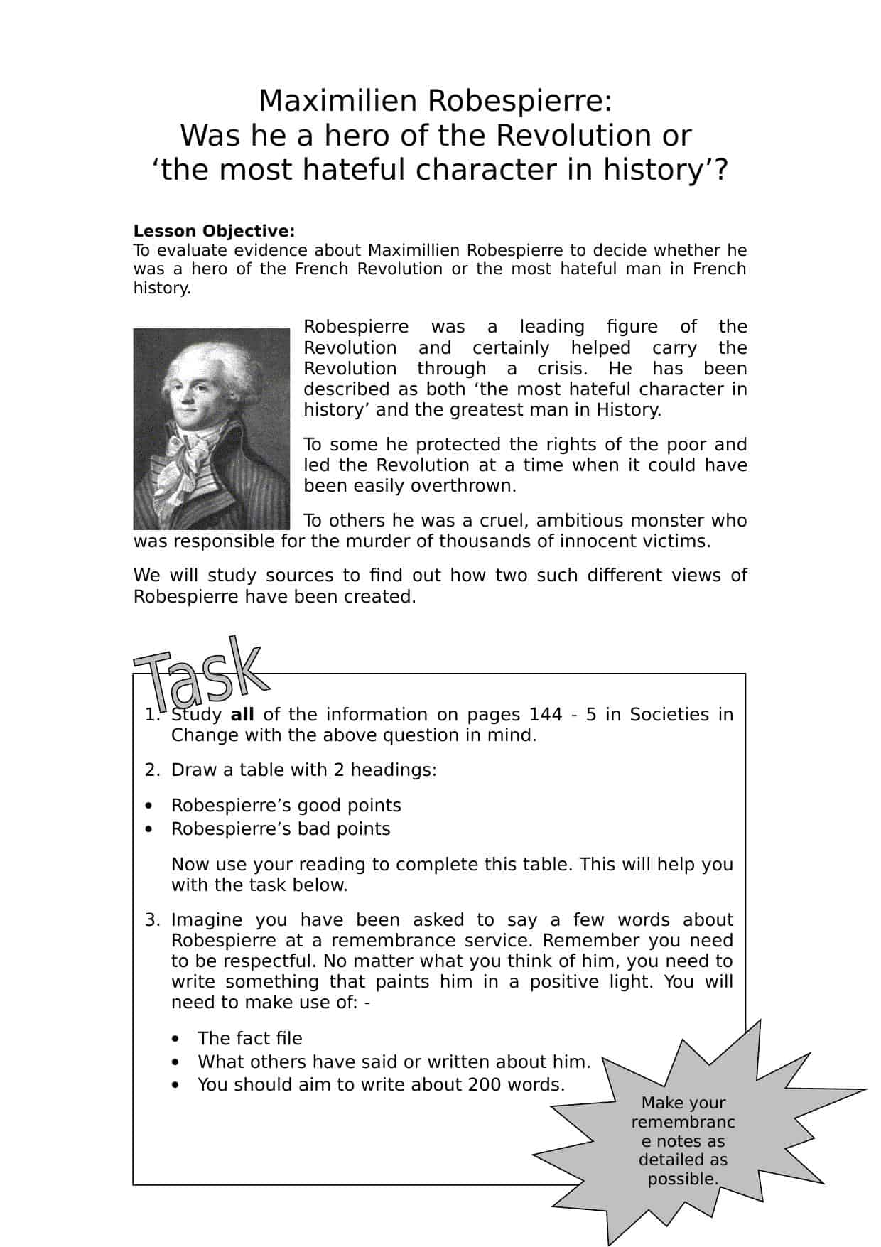 Maximillien Robespierre Worksheet History Resources