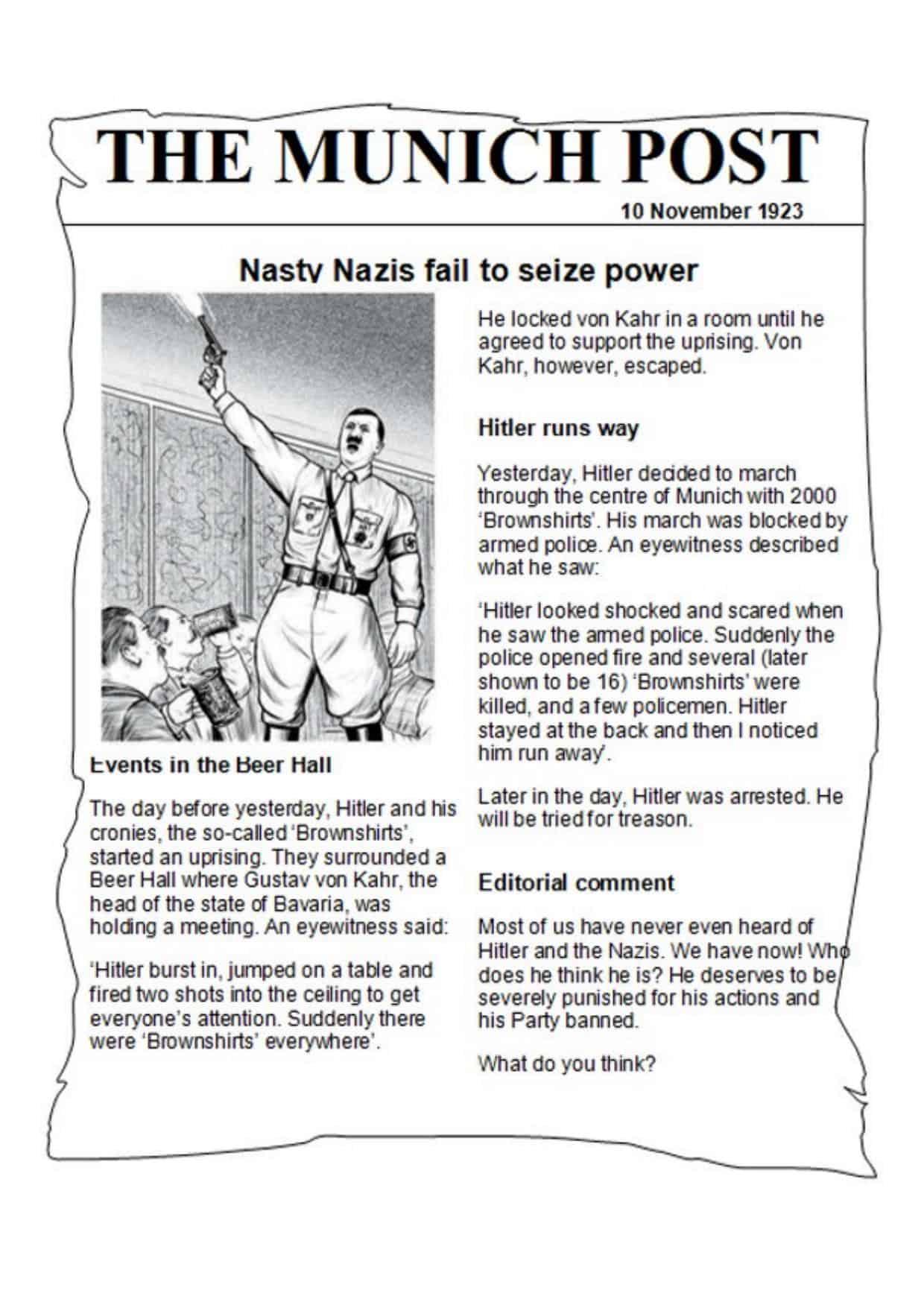 Munich Putsch Newspaper Article History Resources