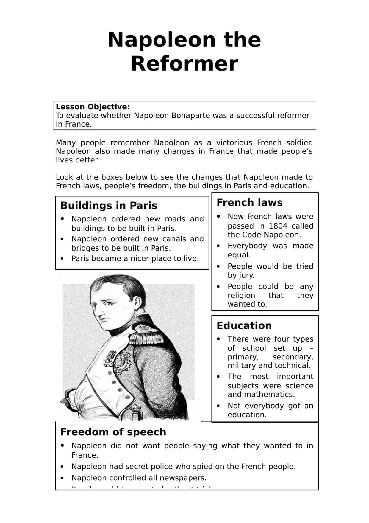 Napoleon The Reformer Worksheet History Resources