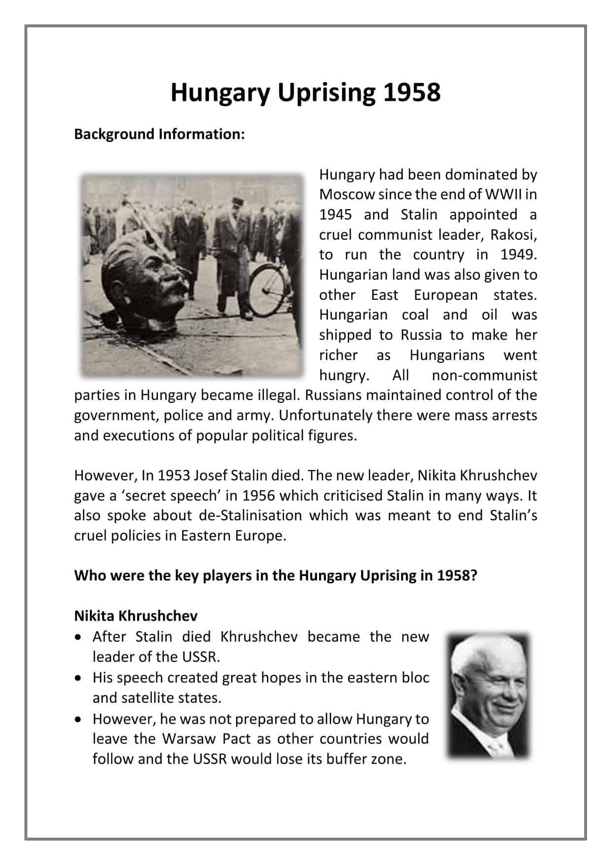 Hungary Uprising 1958 Facts  U0026 Worksheet
