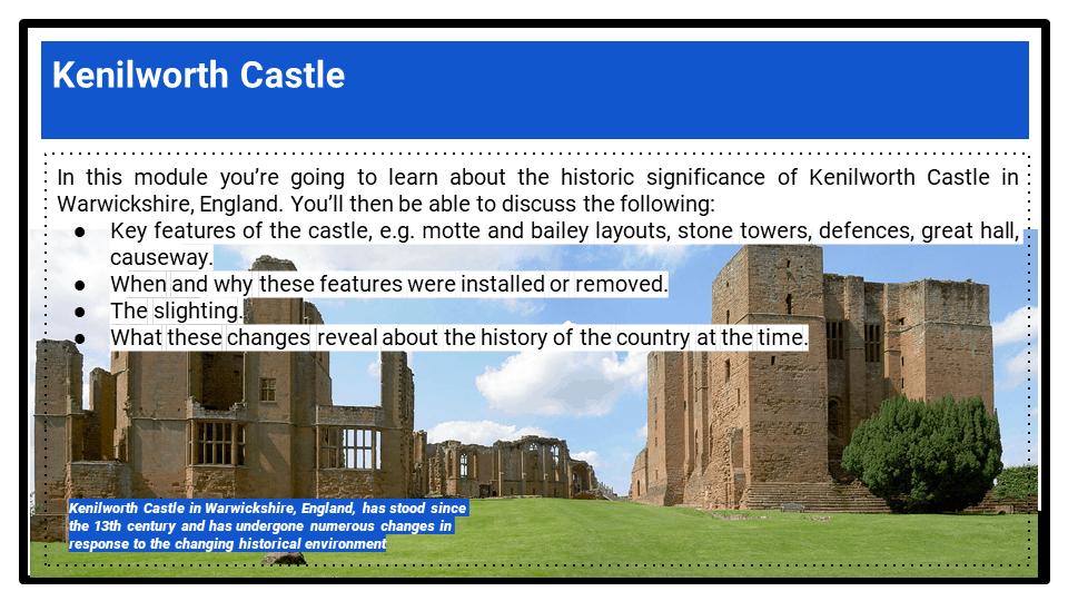 BC_ Historic Environment Kenilworth Castle, c.1125-1660, Presentation