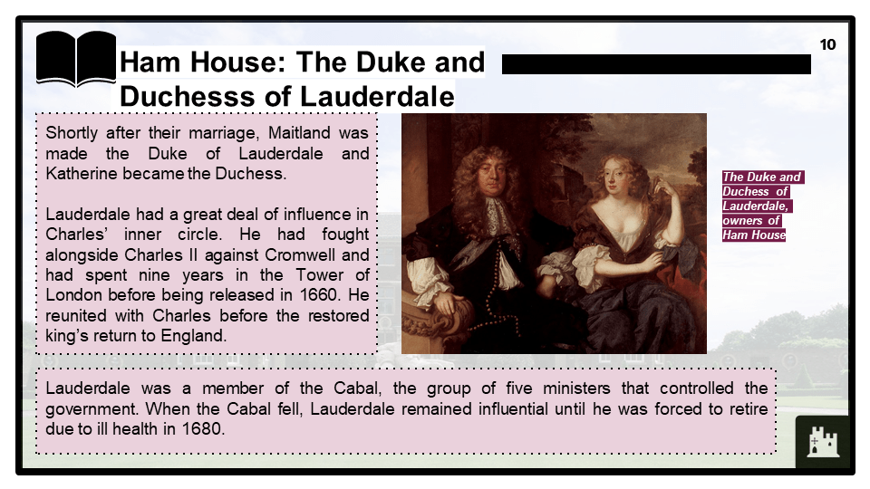 BD Restoration England, 1660-1685, Ham House, Presentation 1