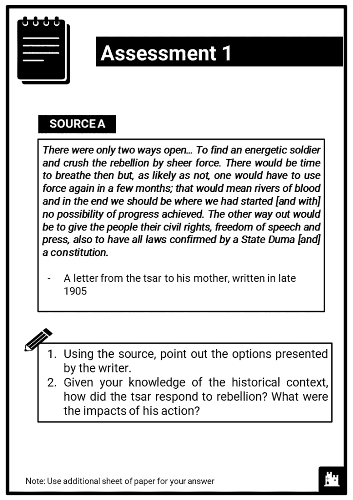 Edexcel Int A2_Russia and the Soviet Union, 1905-24_Part 1 Assessment