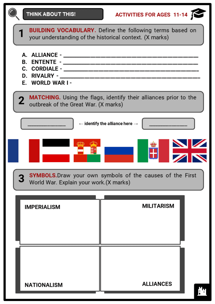Alliances as a cause of World War I Student Activities & Answer Guide 1