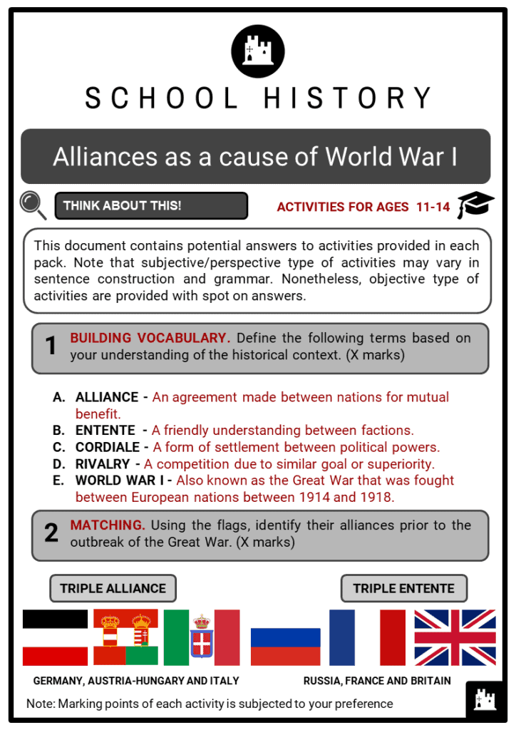 Alliances as a cause of World War I Student Activities & Answer Guide 2