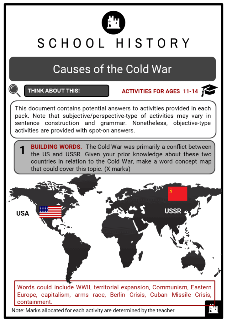 Causes of the Cold War Student Activities & Answer Guide 2