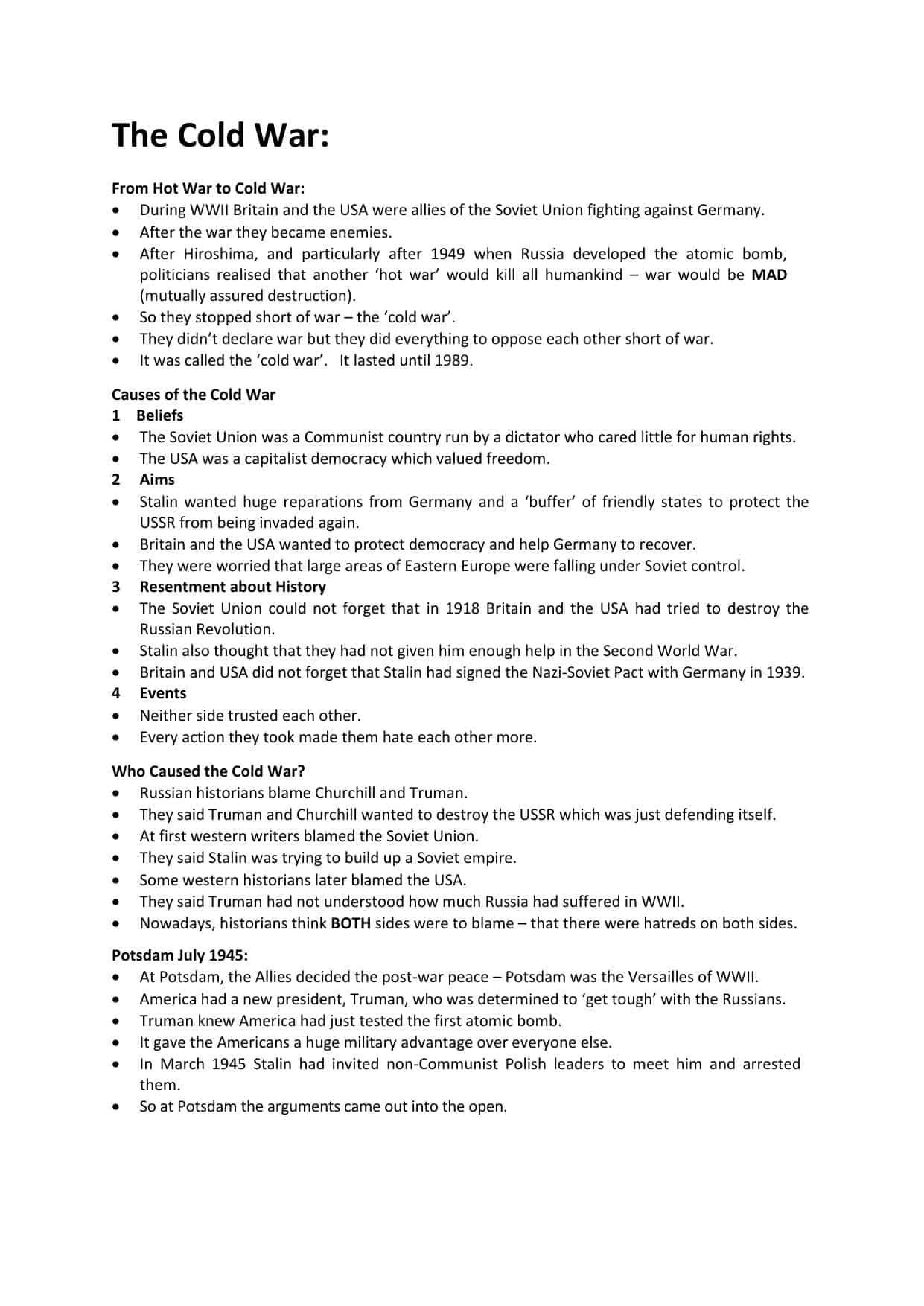 The Cold War Worksheets Ks3 Ks4 Lesson Plans Resources