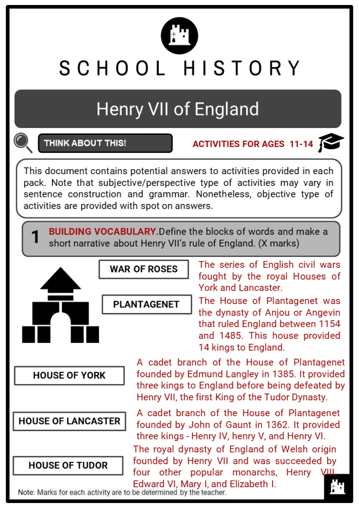 Henry VII of England Student Activities & Answer Guide 2