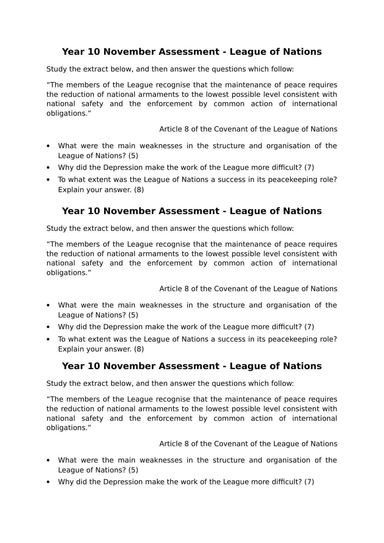 Igcse League Of Nations Year 10 Assessment History Resources