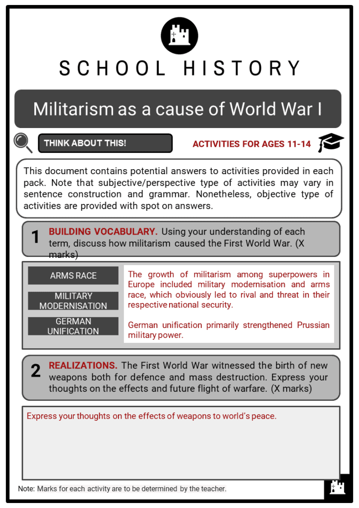 Militarism as a cause of World War I Student Activities & Answer Guide 2