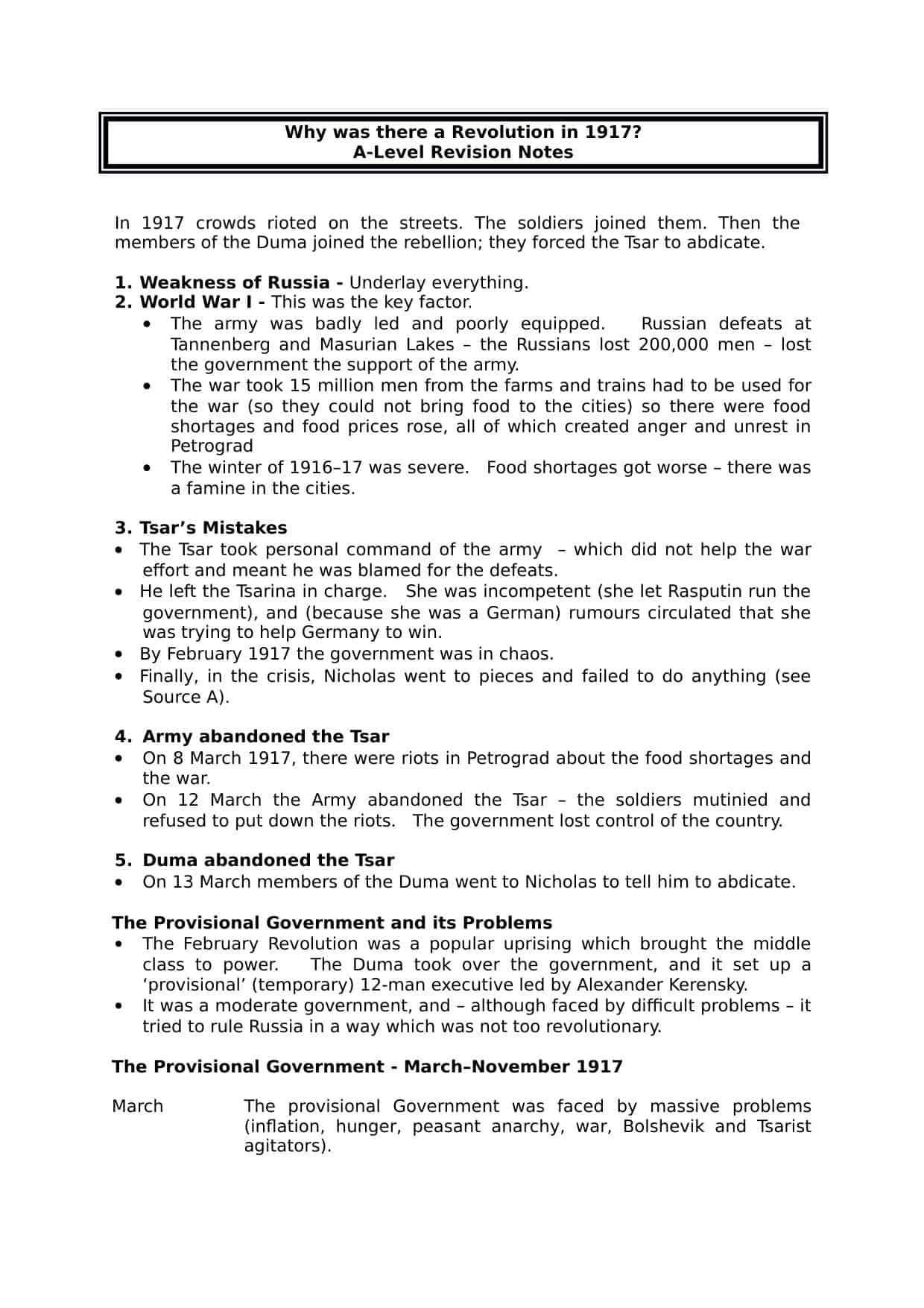 Russian Revolution 1917 A Level Revision Notes