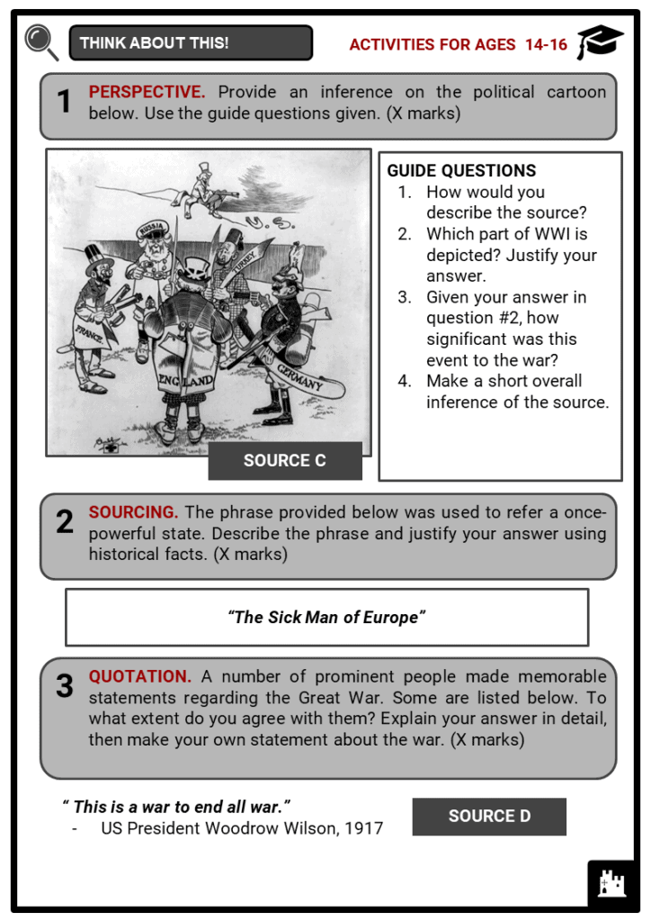 The Great War (World War I) Student Activities & Answer Guide 3