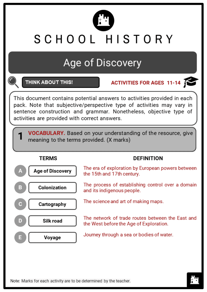 Age of Discovery Student Activities & Answer Guide 2