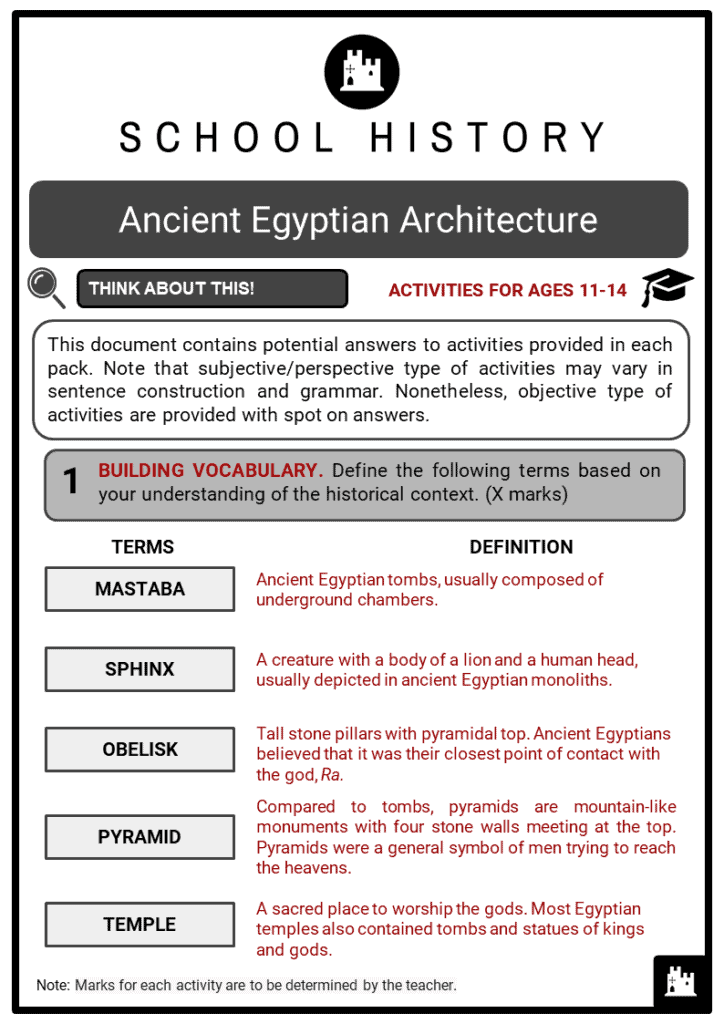 Ancient Egyptian Architecture Student Activities & Answer Guide 2