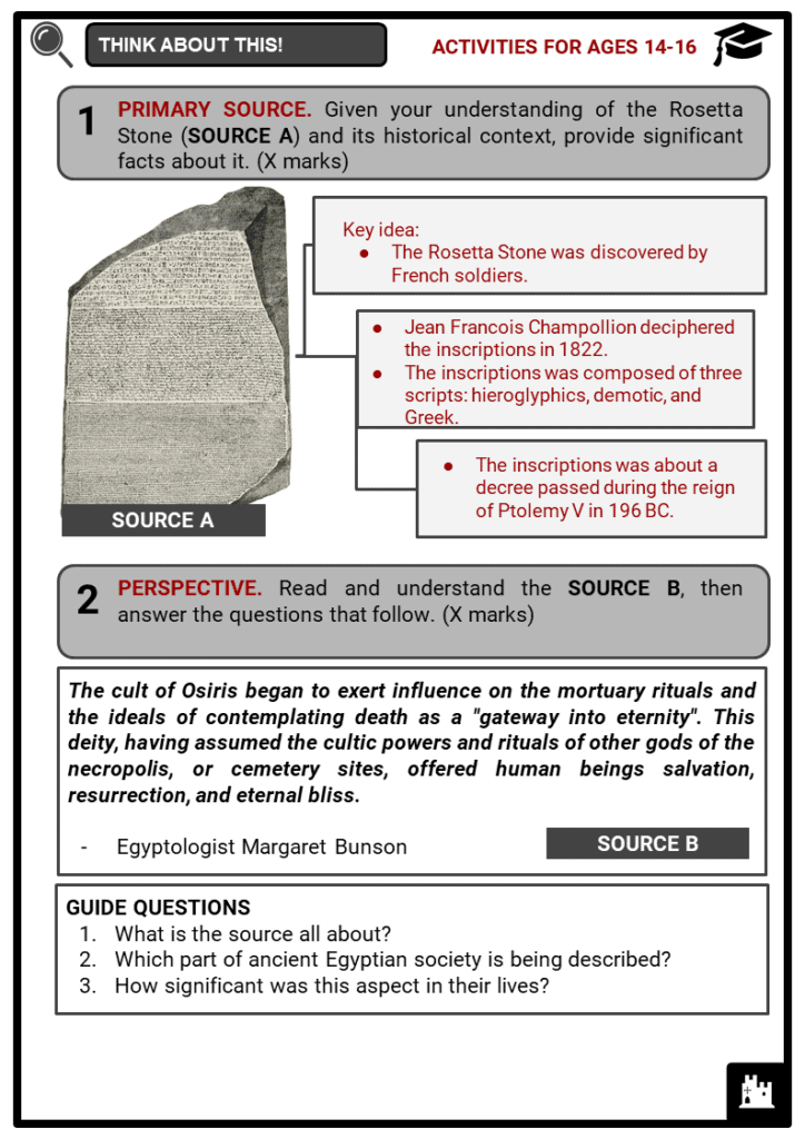 Ancient Egyptian Civilization Student Activities & Answer Guide 4