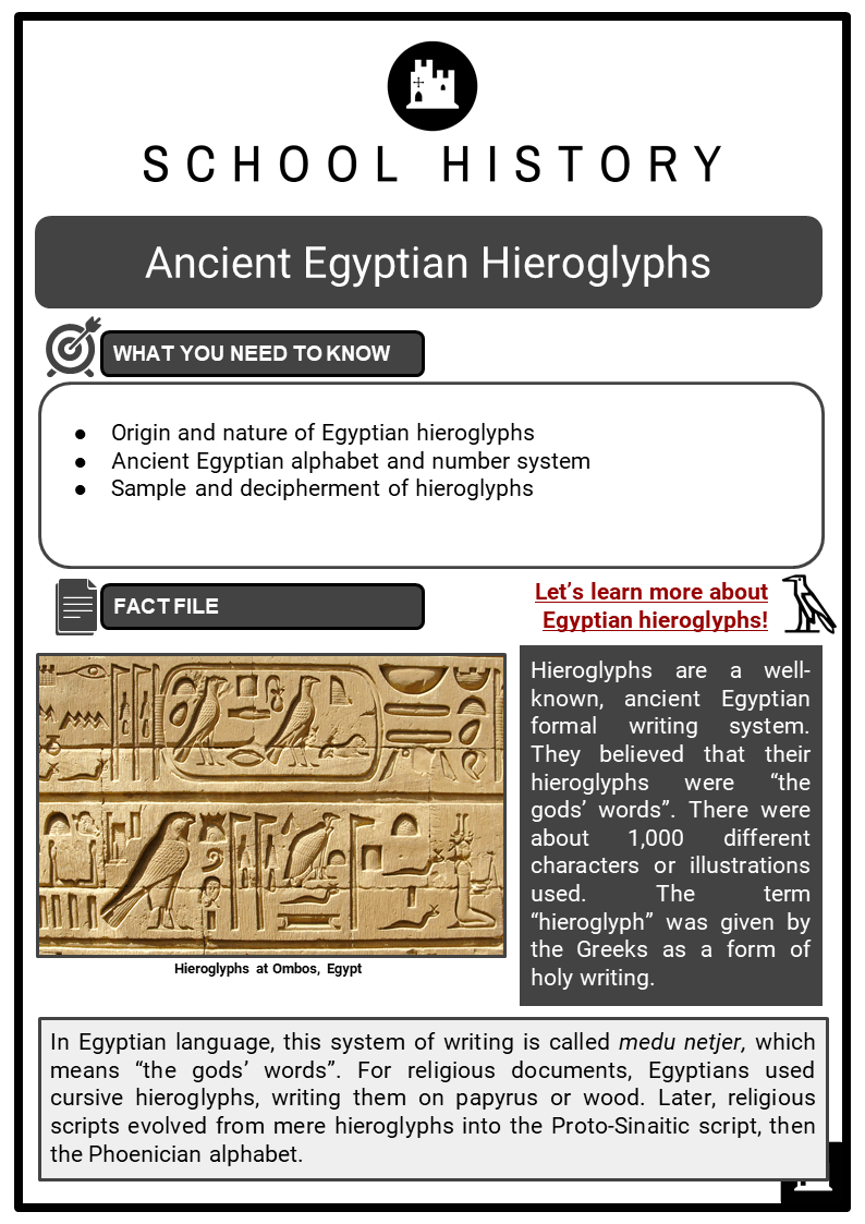 Ancient Egyptian Hieroglyphs Resource Collection 1