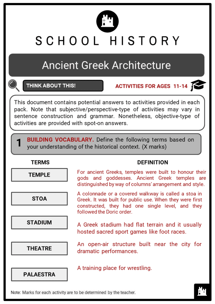 Ancient Greek Architecture Student Activities & Answer Guide 2