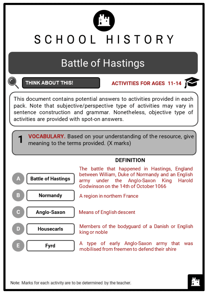 Battle of Hastings Student Activities & Answer Guide 2
